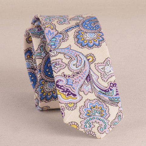 Discount Stylish Ethnic Paisley Pattern 5CM Width Tie For Men BEIGE