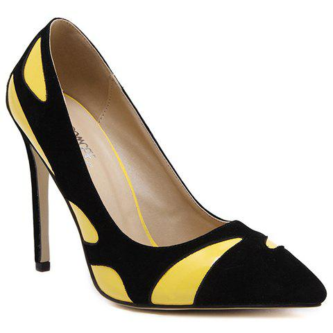 Sale Trendy Color Block and PU Leather Design Pumps For Women YELLOW 37