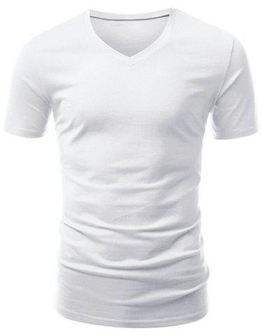 Sale Casual Slimming V-Neck Solid Color Short T-Shirt For Men - XL WHITE Mobile