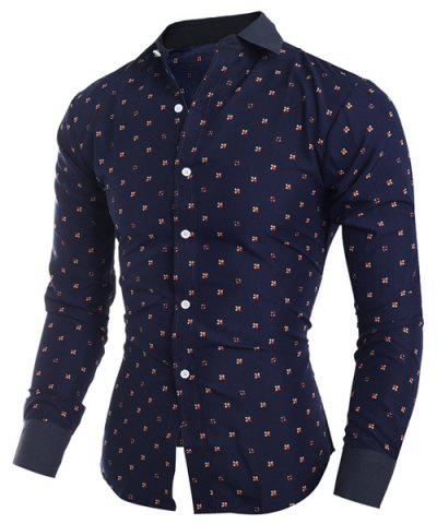 Online Turn-Down Collar Tiny Floral Print Long Sleeve Shirt For Men CADETBLUE M