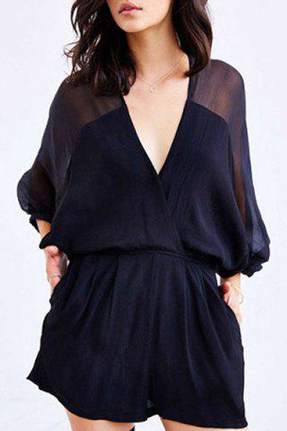 Alluring Deep V Neck Batwing Sleeve See-Through Women's Romper - Purplish Blue - M