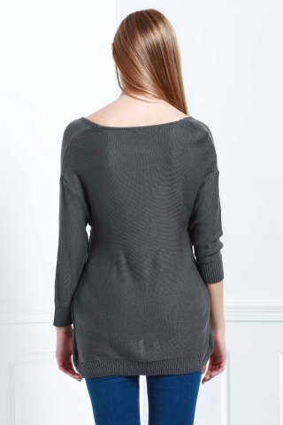 Outfits Long Sleeves V-Neck Cross Pullover Sweater - XS DEEP GRAY Mobile