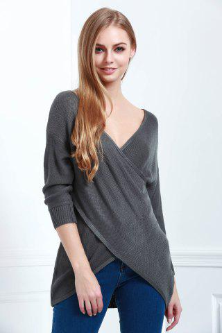 Outfit Long Sleeves V-Neck Cross Pullover Sweater - XS DEEP GRAY Mobile