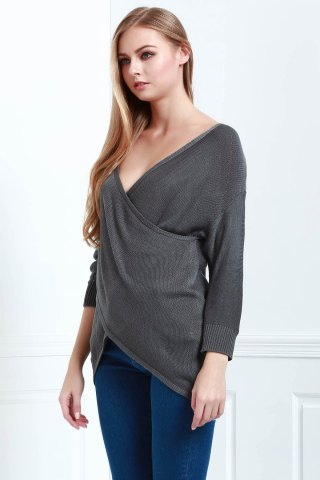 Trendy Long Sleeves V-Neck Cross Pullover Sweater - XL DEEP GRAY Mobile