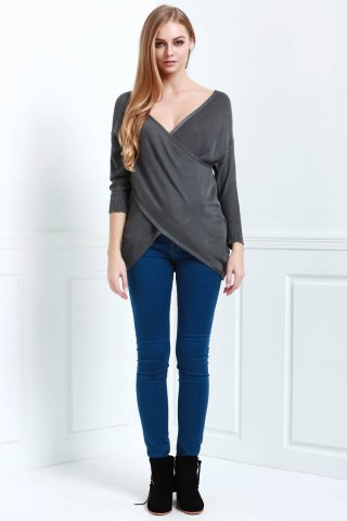 Latest Long Sleeves V-Neck Cross Pullover Sweater - L DEEP GRAY Mobile