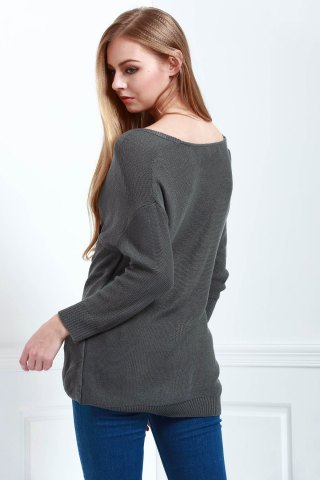 Sale Long Sleeves V-Neck Cross Pullover Sweater - L DEEP GRAY Mobile