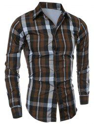 Casual Turn-down Collar Color Block Checked Print Slimming Men's Long Sleeves Shirt - COFFEE