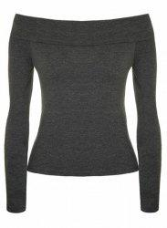 Sexy Low-Cut Off-The-Shoulder Solid Color Bodycon T-Shirt For Women -