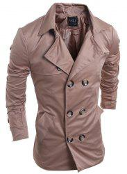 Turn-Down Collar Double-Breasted Long Sleeve Trench Coat For Men - DARK KHAKI