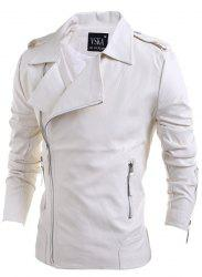 Turn-Down Collar Zipper PU-Leather Long Sleeve Jacket For Men - WHITE