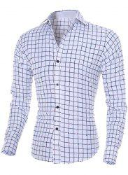 Turn-Down Collar Long Sleeve Stylish Flower Print and Checked Shirt For Men - WHITE M
