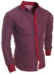 Turn-Down Collar Long Sleeve Splicing Design Polka Dot Shirt For Men - WINE RED XL