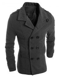 Turn-Down Collar Solid Color Epaulet Design Long Sleeve Men's Woolen Blend Coat - DEEP GRAY