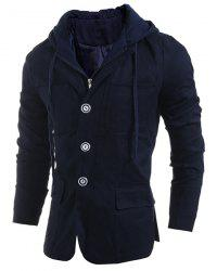 Drawstring Hooded Patch Pocket Faux Twinset Long Sleeve Men's Jacket -