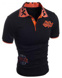 Turn-Down Collar Letters Jacquard Appllique Embellished Short Sleeve Men's Polo-Shirt