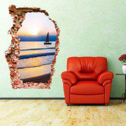 Hot Sale Sunset and Sea Design 3D Wall Sticker -