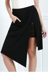 Asymmetric High Waisted A Line Skirt