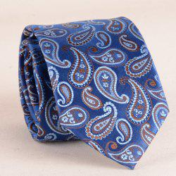Stylish Ethnic Paisley Jacquard 7CM Width Blue Tie For Men - BLUE