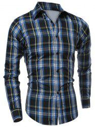 Casual Turn-down Collar Classic Color Block Plaid Pattern Long Sleeves Men's Slimming Shirt