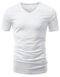 Casual Slimming V-Neck Solid Color Short T-Shirt For Men