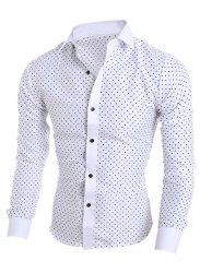 Turn-Down Collar Long Sleeve Stylish Stars Print Shirt For Men