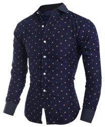 Turn-Down Collar Tiny Floral Print Long Sleeve Shirt For Men - CADETBLUE