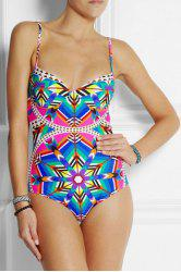 Sexy Spaghetti Strap Printed One Piece Swimwear For Women