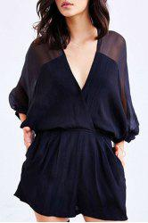 Alluring Deep V Neck Batwing Sleeve See-Through Women's Romper