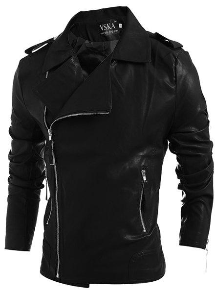 Outfit Turn-Down Collar Zipper PU-Leather Long Sleeve Jacket For Men