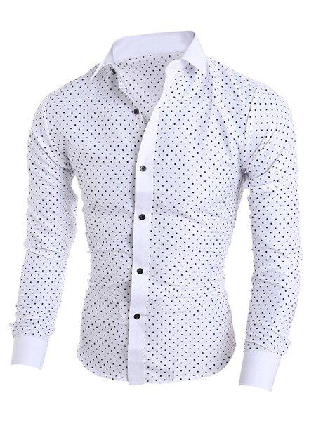 Turn-Down Collar Long Sleeve Stylish Stars Print Shirt For MenMEN<br><br>Size: 2XL; Color: WHITE; Shirts Type: Casual Shirts; Material: Cotton,Polyester; Sleeve Length: Full; Collar: Turn-down Collar; Weight: 0.172kg; Package Contents: 1 x Shirt;