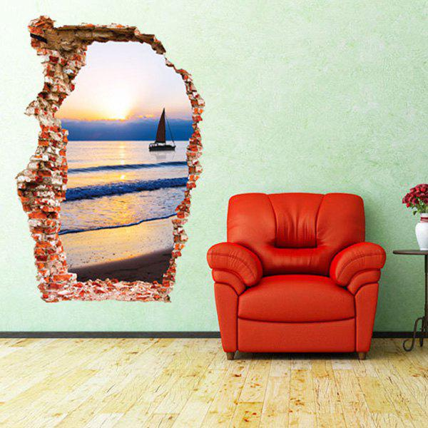 Chic Hot Sale Sunset and Sea Design 3D Wall Sticker