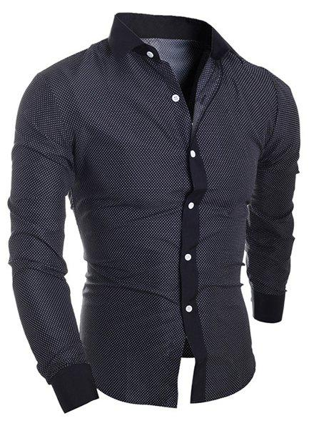 Outfit Turn-Down Collar Long Sleeve Splicing Design Polka Dot Shirt For Men