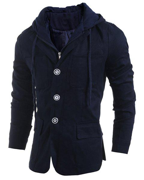 Shops Drawstring Hooded Patch Pocket Faux Twinset Long Sleeve Men's Jacket