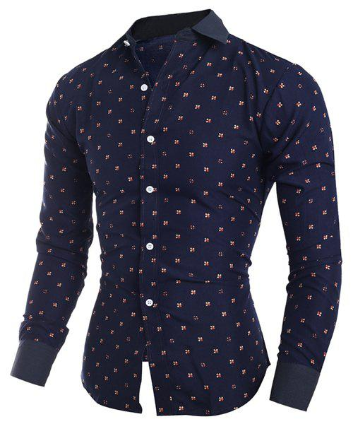 Unique Turn-Down Collar Tiny Floral Print Long Sleeve Shirt For Men