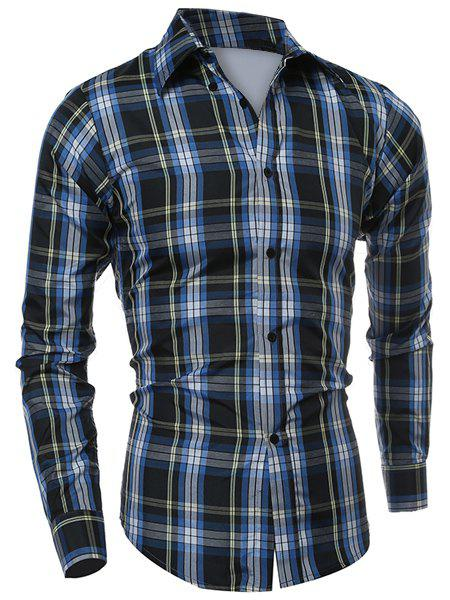 Store Casual Turn-down Collar Classic Color Block Plaid Pattern Long Sleeves Men's Slimming Shirt