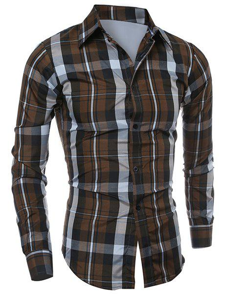 Latest Casual Turn-down Collar Color Block Checked Print Slimming Men's Long Sleeves Shirt