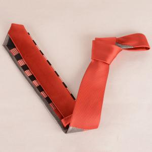 Stylish Silver Thread Wide Stripe Pattern 6CM Width Red Tie For Men -