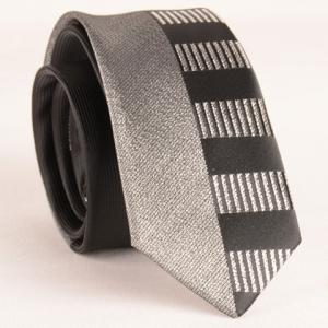 Stylish Silver Thread Wide Stripe Pattern 6CM Width Black Tie For Men