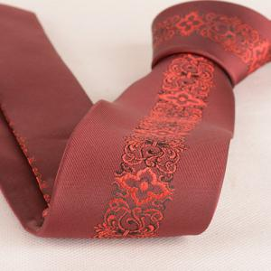 Stylish Retro Palace Jacquard Middle 6CM Width Wine Red Tie For Men -