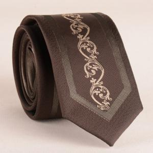 Stylish Middle Plant Jacquard 6CM Width Coffee Color Tie For Men