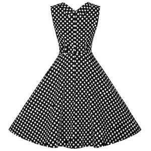 Retro Style Sweetheart Neck Polka Dot Print Dress For Women -