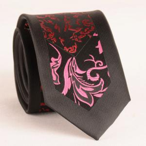 Stylish Rose and Wine Red Jacquard 6.5CM Width Tie For Men - Black