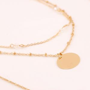 Layered Faux Crystal Bar Pendant Necklace - GOLDEN