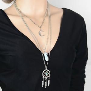 Graceful Faux Turquoise Moon Feather Shape Pendant Sweater Chain For Women - Silver