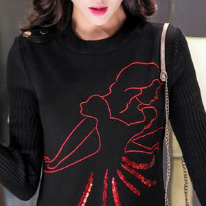 Stylish Round Neck Long Sleeve Printed Knitted Dress For Women -