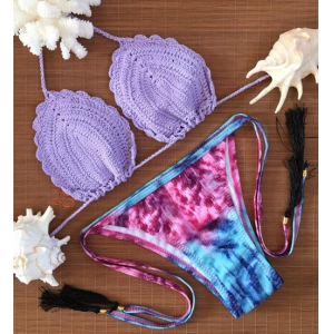 Halter Crochet Print Bikini Set For Women