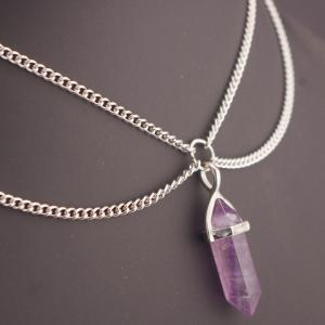 Bullet Faux Crystal Pendant Two Layered Link Chain Necklace - PURPLE