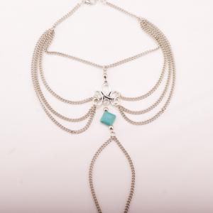 Gothic Style Square Fake Turquoise Multilayered Anklet - Silver