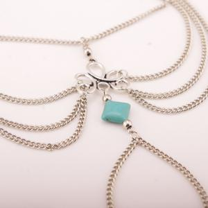 Gothic Style Square Fake Turquoise Multilayered Anklet -