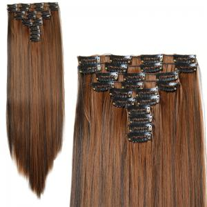 Fashion High Temperature Fiber Straight Clip-In Long Hair Extensions For Women - Colormix - 18inch